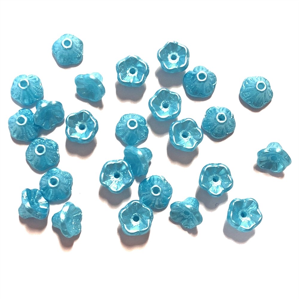 Mini Bell Flower Beads, Czech Glass Beads, 0263, flower cup beads, Pastel Turquoise Blue, bell flowers, 5x7mm, assorted beads, beads, glass beads, shimmering blue, flowers, floral beads, beading supplies, jewelry supplies