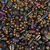 tribal bead mix, jungle beads mix, designer acrylic, B'sue Boutiques, dense acrylic, ornate acrylic, designer beads, colorful beads, wood beads, engraved beads, embossed beads, bronze, olive, blue beads, saturn beads, bead mix, purple beads, beads, 02638