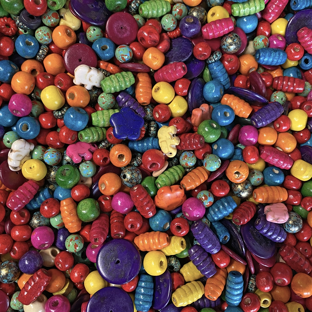 fiesta bead mix, bead mix, vintage, vintage beads, colorful beads, elephant beads, flower beads, bead candy, lucite beads, dyed-howlite beads, 50's deco style beads, acrylic bead mix, B'sue Boutiques, limited edition bead mix, beads, colorful beads, 02639