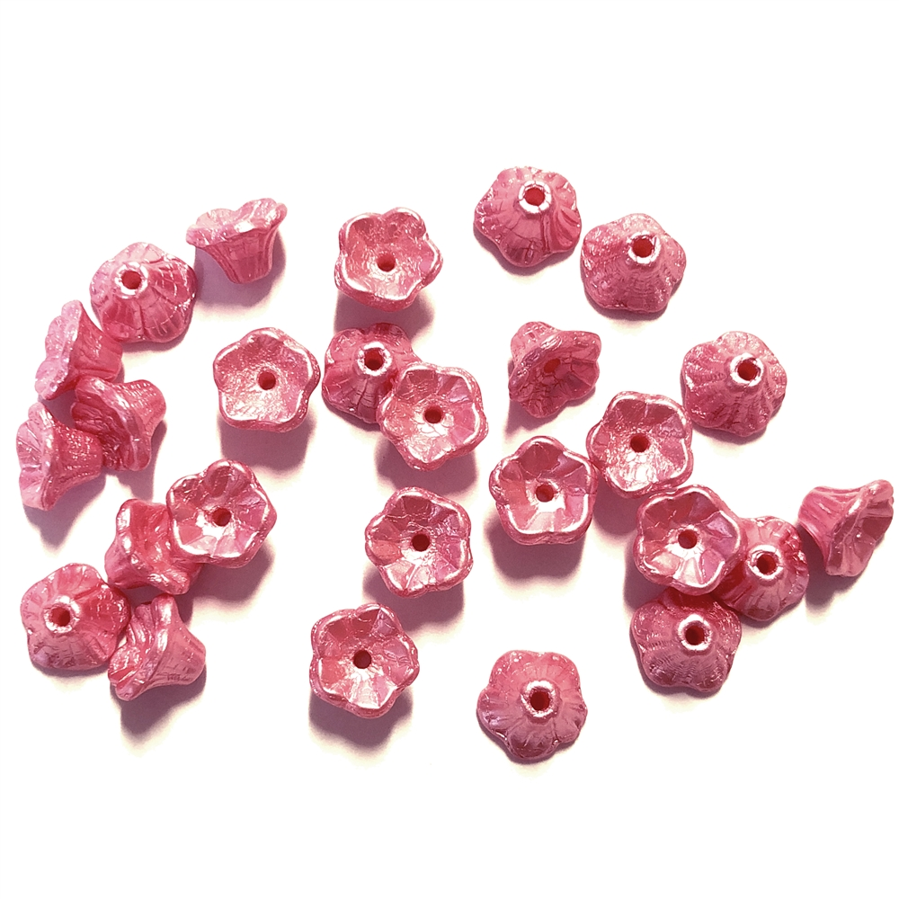 Mini Bell Flower Beads, Czech Glass Beads, 0264, flower cup beads, Pastel Coral Pink, bell flowers, 5x7mm, assorted beads, beads, glass beads, shimmering pink, flowers, floral beads, beading supplies, jewelry supplies