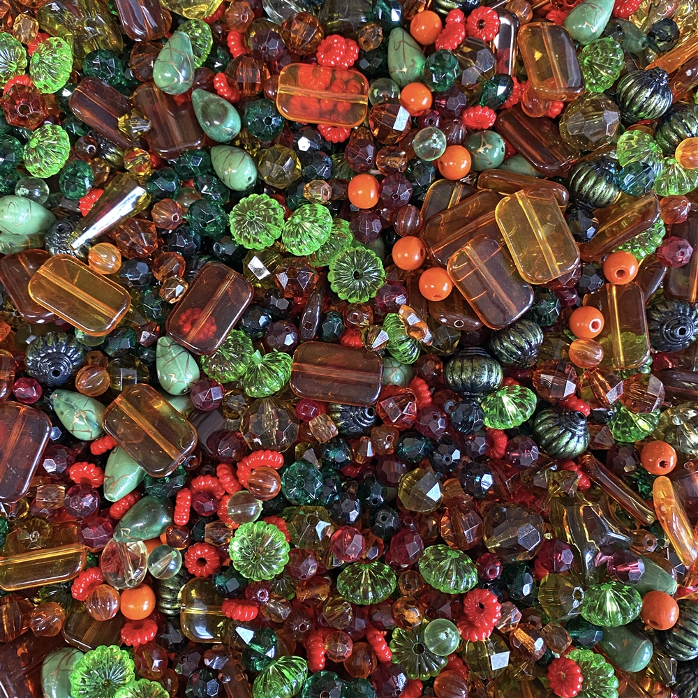 vintage beads, red, olive green, amber, drilled, chunky beads, autumn beads, large acrylic beads, large vintage beads, bead mix, assorted beads, B'sue Boutiques, designer, jewelry designer, designer beads, beading, acrylic beads, glass beads, 02641