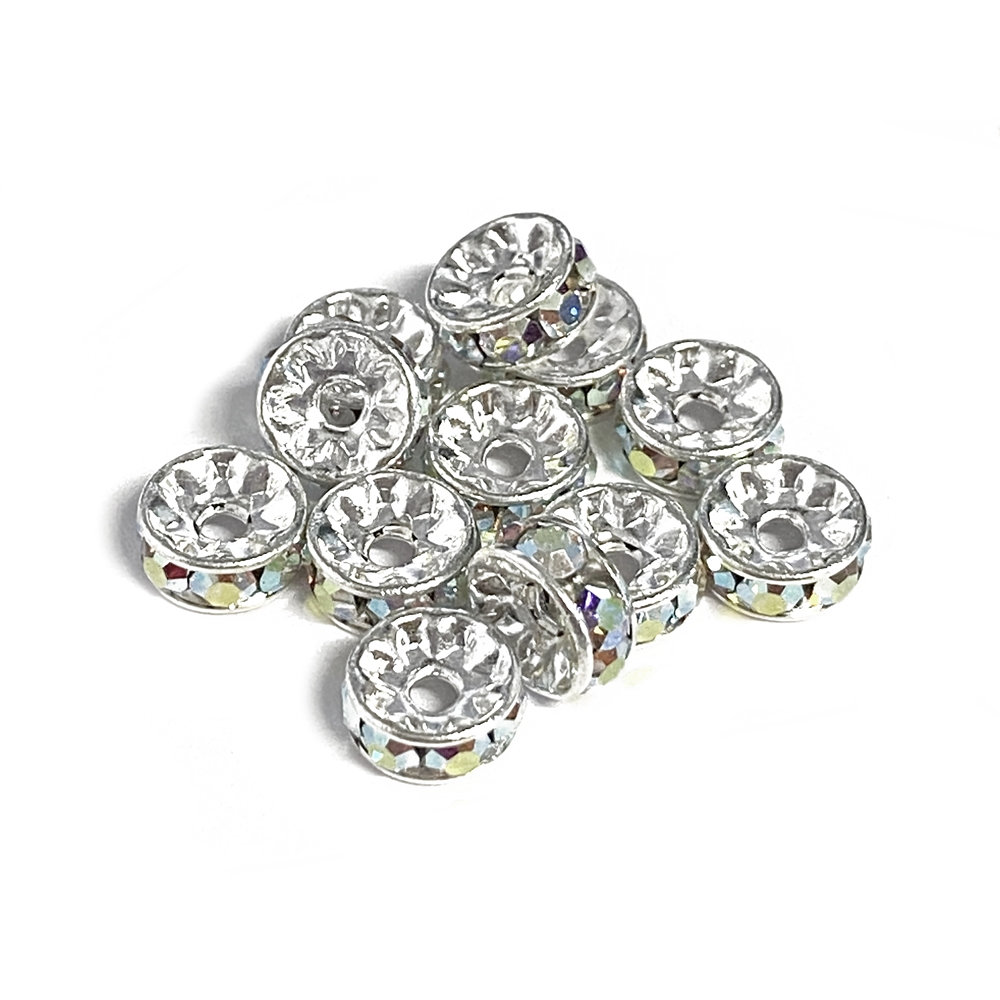 rhinestone rondelle beads, spacer beads, silver beads, crystal AB beads, beads, Czech crystal, rondelle beads, silver, 7mm beads, crystal rhinestone, rhinestone rondelles, Czech glass beads, crystal rondelles, accent beads, jewelry spacer beads, 02750