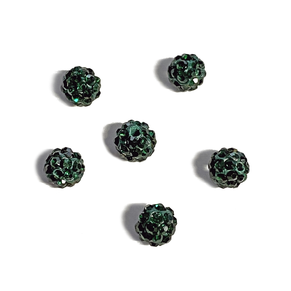 rhinestone pave beads, emerald beads, 6mm, ball beads, glass beads, crystal stones, round beads, crystal beads, faceted, bead, glass, b'sue boutiques, jewelry making, jewelry findings, vintage supplies, emerald, green beads, jewelry supplies, 02777