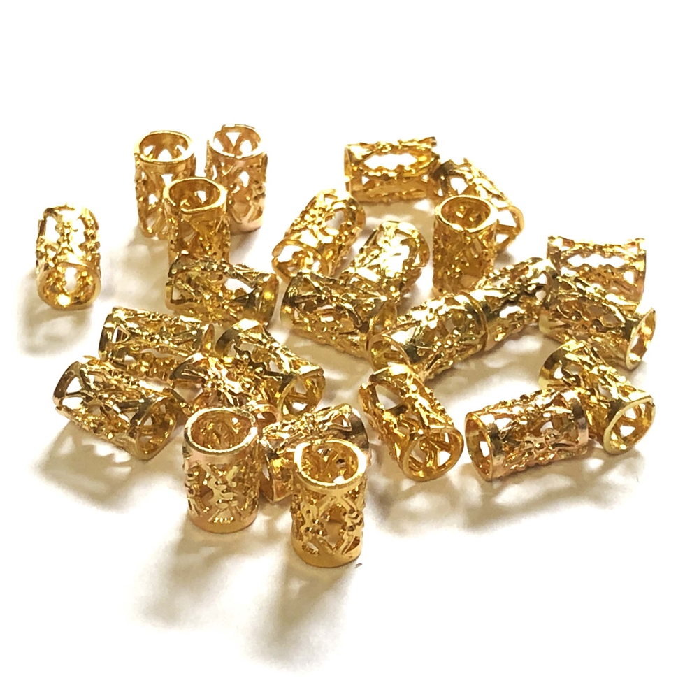 filigree tube beads, filigree beads, jewelry making, 029, brass bead, filigree beads, aluminum beads, gold plate beads, designer findings, designer beads, steampunk art jewelry, beading supplies, vintage jewelry supplies,