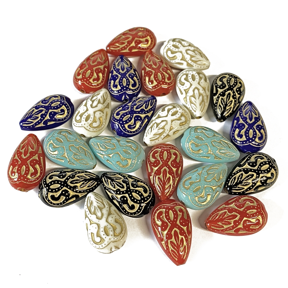 Victorian style acrylic bead mix, teardrop beads, acrylic beads, Victorian beads, bead mix, beads, teardrop bead, black, blue, white, turquoise, red, jewelry making, vintage supplies, jewelry supplies, B'sue Boutiques, US made, 18x12mm, 02918