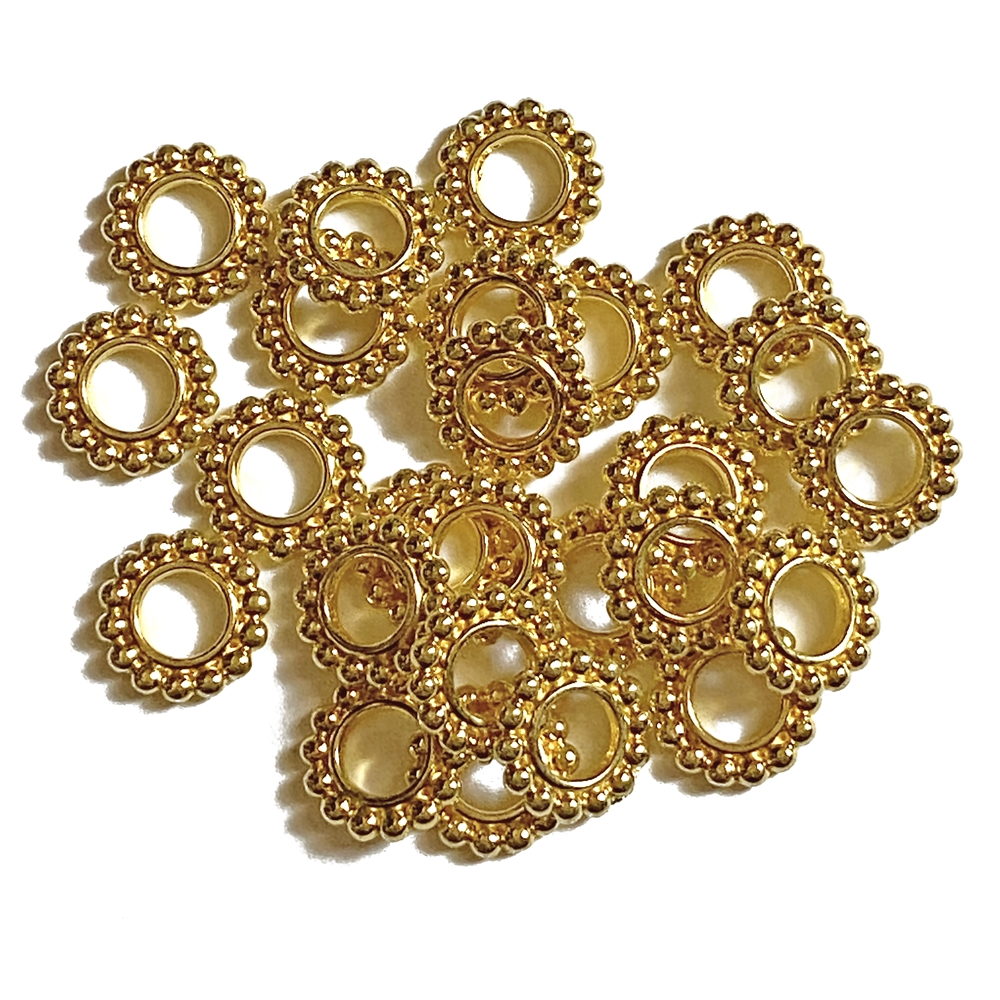 dotted spacer bead, gold plated, spacer beads, beads, gold beads, gold spacer beads, rondelle beads, gold, beading supplies, jewelry beads, jewelry making, vintage supplies, B'sue Boutiques, 10mm, jewelry supplies, jewelry findings, 02922