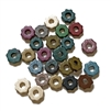 ceramic gear beads, dark multi color beads, gear beads, ceramic beads, bright bead, multi color beads, gear shaped beads, 5mm, jewelry making, jewelry beads, jewelry findings, jewelry supplies, vintage supplies, colorful beads, 02938