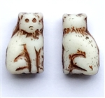 cat beads, glass beads, antique ivory, 15mm, 03169, beading supplies, vintage jewelry supplies, jewelry making supplies, Bsue Boutiques, kitty cat beads