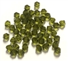 Olivine, Glass  Bi Cone Beads, 4mm, 03175, Preciosa, glass beads, beads, imitation,  bi cone beads, Czech, crystal beads, faceted, bead, glass,  us made, nickel free, b'sue boutiques, jewelry making, jewelry findings, vintage supplies