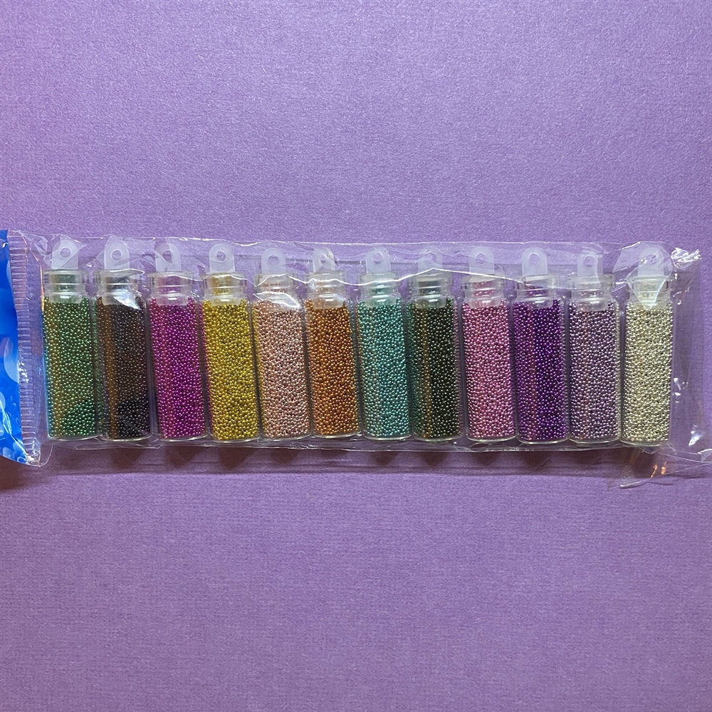 12 pack colors of micro beads, caviar beads, mini beads, glass micro beads, beading supplies, jewelry supplies, scrapbooking supplies, card making supplies, 3D nail art, mini ball beads, mixed colors, inclusions, resin, 03301, micro bead assortment