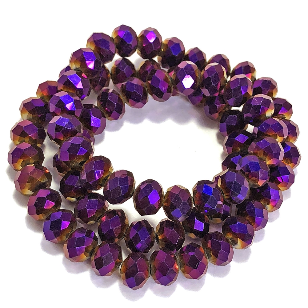metallic amethyst rondelle beads, purple beads, rondelle beads, amethyst, faceted, glass beads, crystal glass, abacus beads, electroplate, metallic beads, 10x8mm, jewelry making beading supplies, jewelry supplies, vintage supplies, amethyst beads, 03339