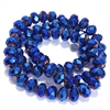 metallic cobalt rondelle beads, blue beads, rondelle beads, cobalt, faceted, glass beads, crystal glass, abacus beads, electroplate, metallic beads, 10x8mm, jewelry making beading supplies, jewelry supplies, vintage supplies, glass blue beads, 03340