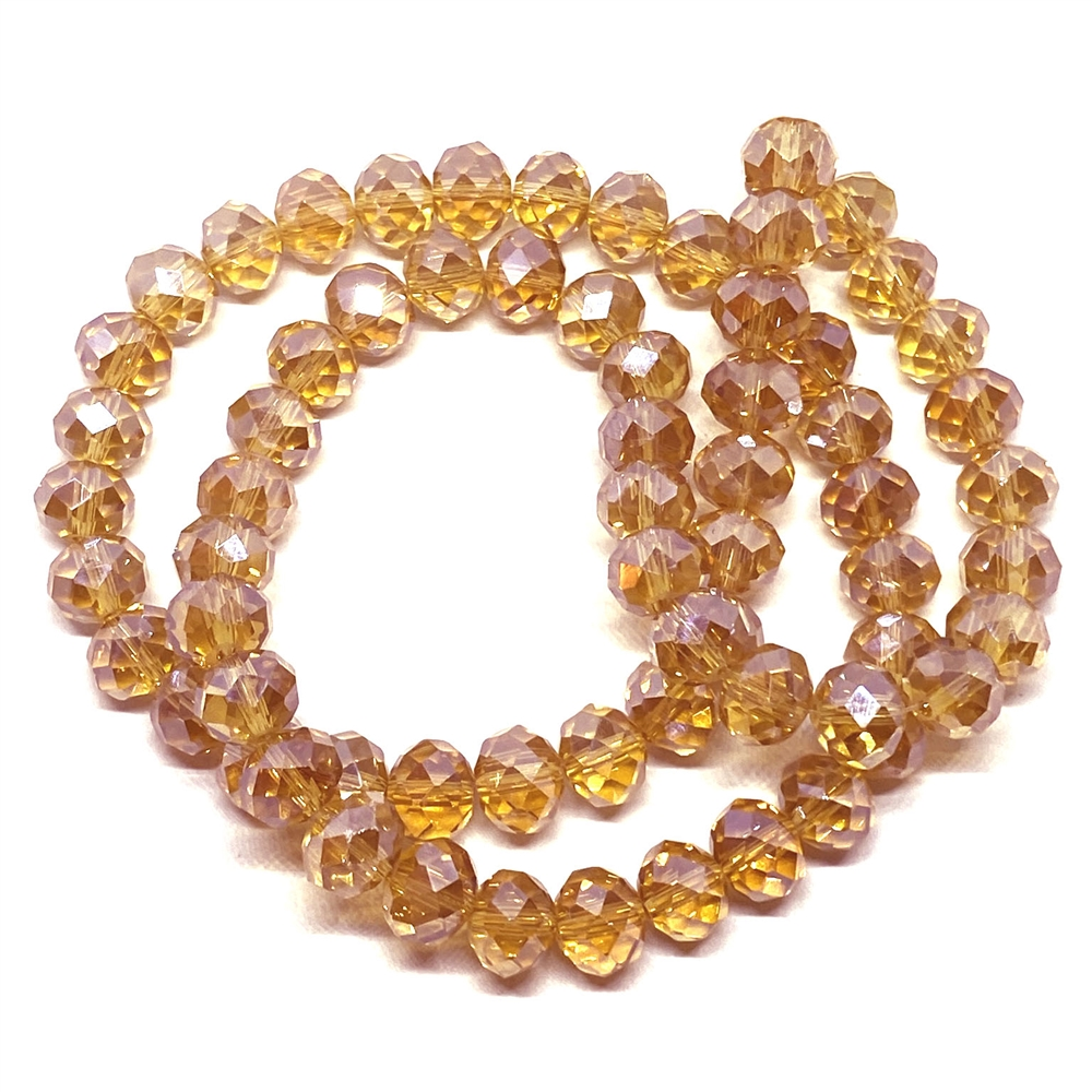 Iridescent topaz rondelle beads, peach beads, rondelle beads, topaz, faceted, glass beads, crystal glass, abacus beads, electroplate, crystal beads, 10 x 7mm, jewelry making beading supplies, jewelry supplies, vintage supplies, 03379