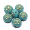 Moroccan Style beads, 03444, plastic beads, turquoise beads, beading supplies, acrylic beads, puffy beads, jewelry making supplies, vintage jewelry supplies, gold detail, gold patterned design, 13x10mm