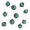 ribbed acrylic bicone beads, stepped beads, golden bronze, ribbed beads, paint spattered look, 14 x 12mm, jewelry making, beading supplies, jewelry supplies, vintage supplies, turquoise and black,  03466