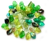 evergreen leaf beads, beads, leaf beads, pressed glass, glass, glass beads, 9x14mm, evergreen colors, evergreen, sided drilled, top drilled, mix green, 50 pieces, jewelry making, B'sue Boutiques, jewelry findings, vintage supplies, jewelry supplies,03470