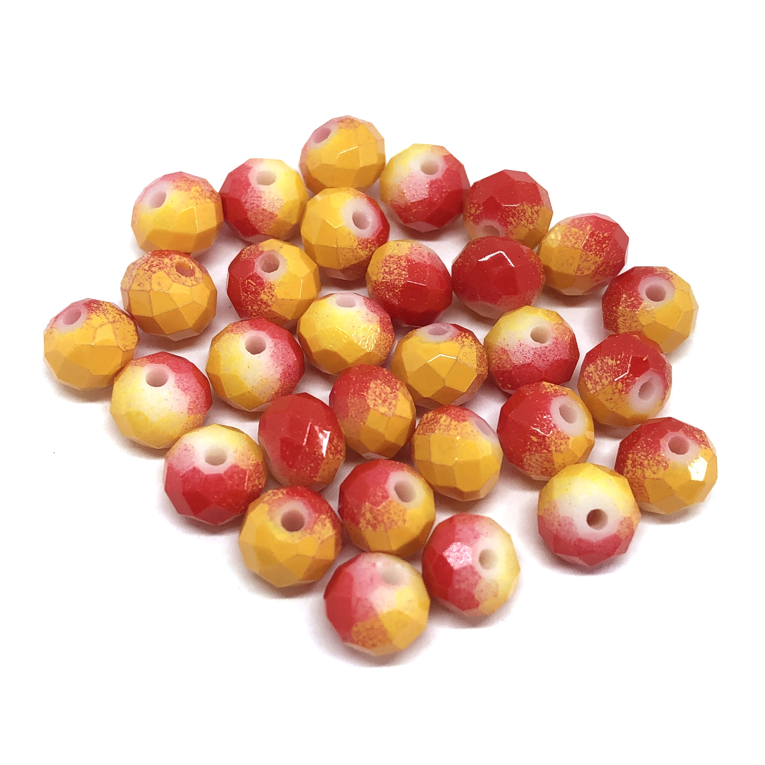 Faceted glass beads, glass beads, beading supplies, two tone beads, red and yellow, jewelry making, jewelry supplies, vintage supplies, B'sue, rondelle beads, 8mm, faceted beads, 0351, beads