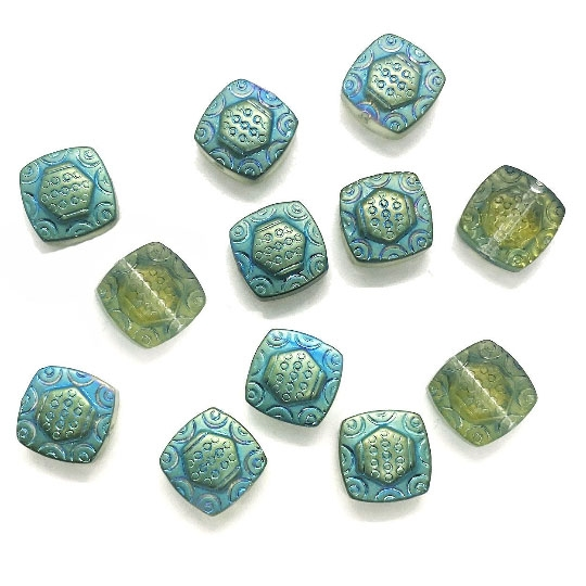Czech glass Beads, rounded square, 03548, square, transparent beads, olive green, green beads, glass, Czech, engraved beads, lampwork beads, lamp work, crystal beads, B'sue Boutiques, jewelry supplies