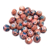 pink speckled faceted glass beads, robin egg beads, dinosaur eggs beads, beads, glass beads, speckled beads, pink beads, blue speckled beads, faceted beads, beading supplies, 8mm beads, rondelle beads, blue beads, speckled pattern beads, 0355