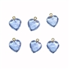 Clear Plastic Light Sapphire  Heart Drop with Bail