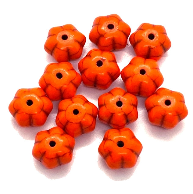 pumpkin orange beads, 11 x 7mm bead, beads, B'sue Boutiques,  dyed howlite, jewelry making, beading supplies, melon bead, vintage supplies, melon, 03658
