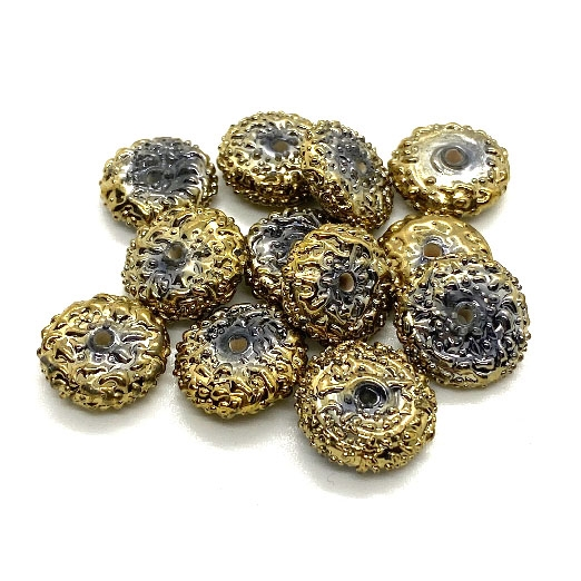 Molten Lava Rondelle Beads, Goldlver Beads, 03754, rondelle beads, gold, glass beads, lampwork glass, abacus beads, metallic beads, 14 x5mm, jewelry making beading supplies, jewelry supplies, vintage supplies, glass gold beads