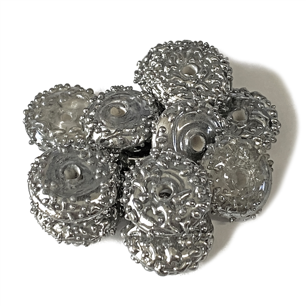 Molten Lava Rondelle Beads, Silver Beads, 03758, rondelle beads, silver, glass beads, lampwork glass, abacus beads, metallic beads, 14 x5mm, jewelry making beading supplies, jewelry supplies, vintage supplies, glass silver beads