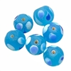 Glass Lampwork beads, peacock blue, glass beads, beads, round beads, blue beads, aqua beads, beading supplies, jewelry making, B'sue Boutiques, 12mm bead, 03762, frosted matte beads, matte, frosted