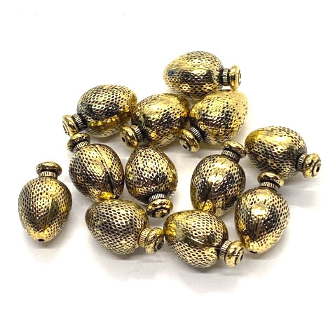 metalized beads, antique gold finish, 03896, metalized plastic beads, antique gold beads, beading supplies, designer beads, puffy beads, jewelry making supplies, vintage jewelry supplies, atomizer, bottle shaped beads