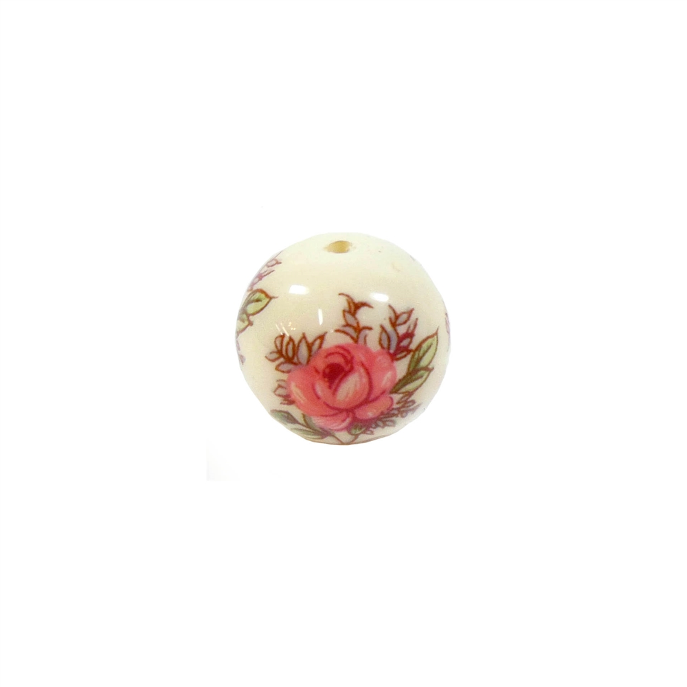 rose decal, vintage bead, floral bead, floral, bead, rose, vintage, japanese, decal bead, decal, cream, pink, flower, 12mm, us made, nickel free, b'sue boutiques, jewelry findings, vintage supplies, jewelry supplies, bead supplies, jewelry making, 03935