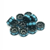 rondelles, spacer beads, black and turquoise, 7mm, spacer beads, turquoise rondelles, Black spacer beads, black rondelles, rhinestone beads, rhinestone rondelles, 03954, B'sue Boutiques, jewelry supplies