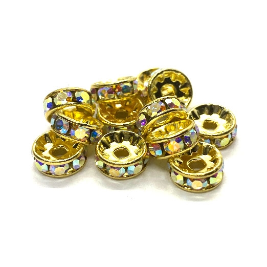 goldtone rondelles, crystal beads, AB, 8mm, spacer beads, crystal rondelles, Aurora borealis, AB rondelles,  spacer beads, iridescent rondelles, rhinestone beads, rhinestone rondelles, bead, jewelry beads, jewelry spacer beads, raw brass, 03957