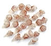 crystal peach flower cup beads, czech glass, bell flower design, flower beads, drilled through, 7x5mm, glass, czech, beads, crystal peach, peach, crystal, transparent, cup beads, glass beads, us made, nickel free, B'sue Boutiques, jewelry supplies, 04027