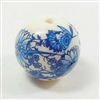 beads, vintage beads, blue floral decal, 12mm