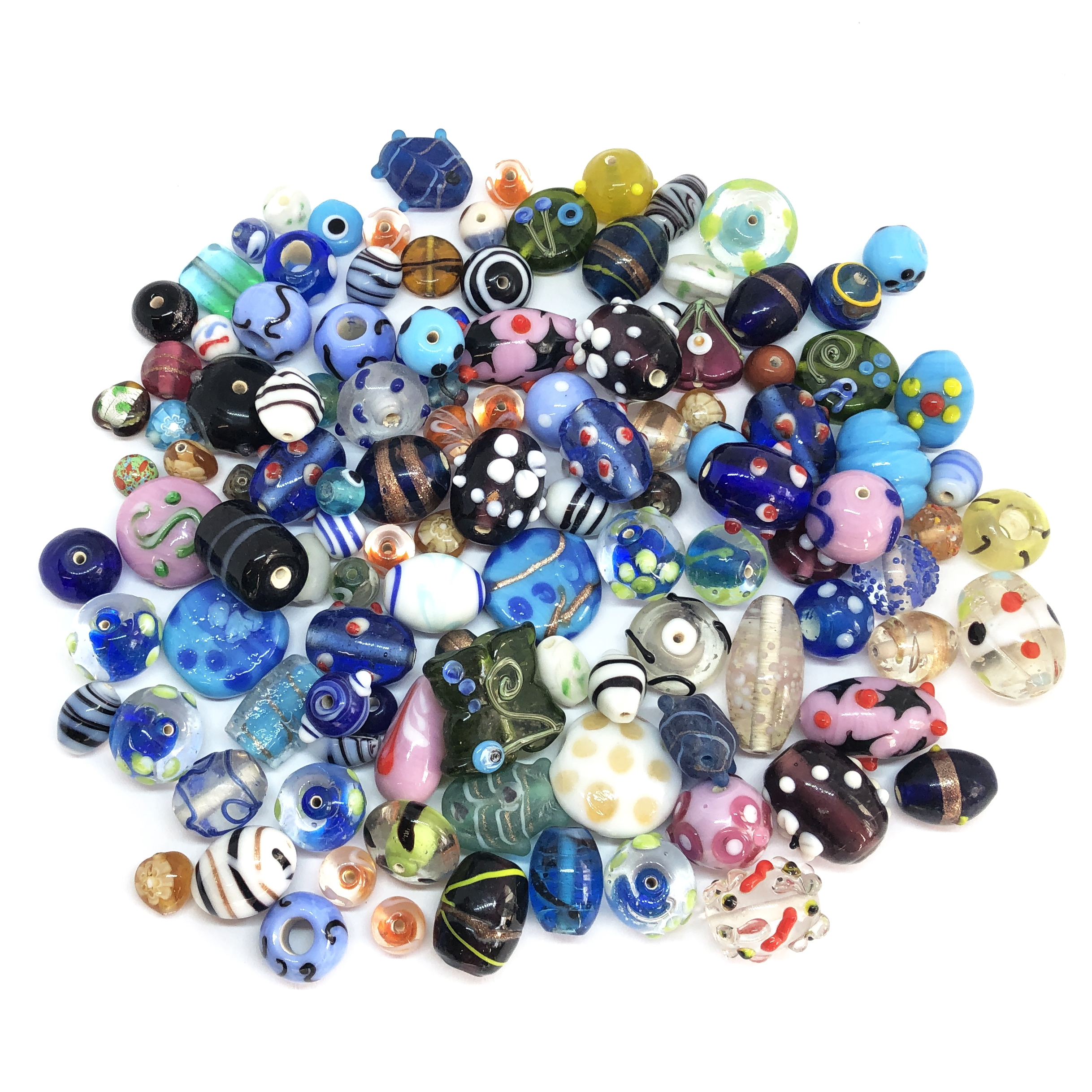 Indian glass beads, lampwork beads, glass beads, assorted glass beads, pink lampwork beads, wedding cake beads, cake beads, lamp beads, handmade beads, beading supplies, jewelry making supplies, B'sue Boutiques, beading supplies, 0417