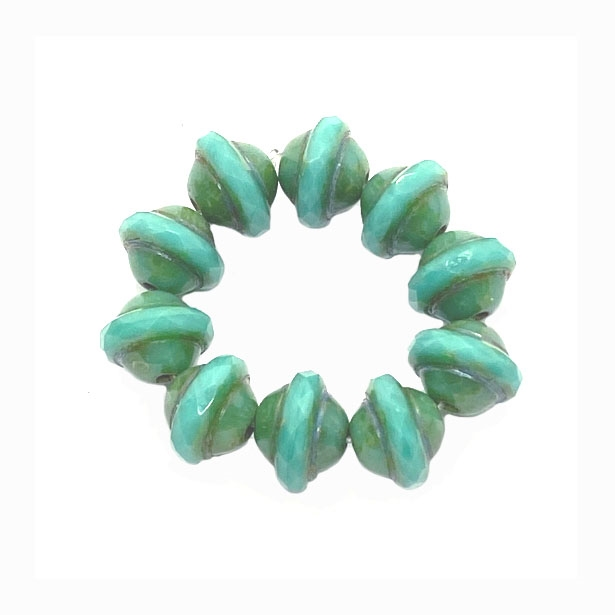 Saturn aqua green Picasso finish beads, Saturn aqua beads, Czech glass beads, saucer beads, Czech glass, Czech, glass, Picasso, drilled, glass beads, US-made, B'sue Boutiques, jewelry making, 8x10mm, aqua green beads, Saturn beads, 04233