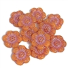 wild rose flower beads, orange opaline, pink wash, beads, Czech beads, flower beads, orange beads, salmon, 14mm beads, open rose, pink accents, hibiscus flower, beads, flower Czech beads, glass beads, vintage style, designer glass beads, 04240