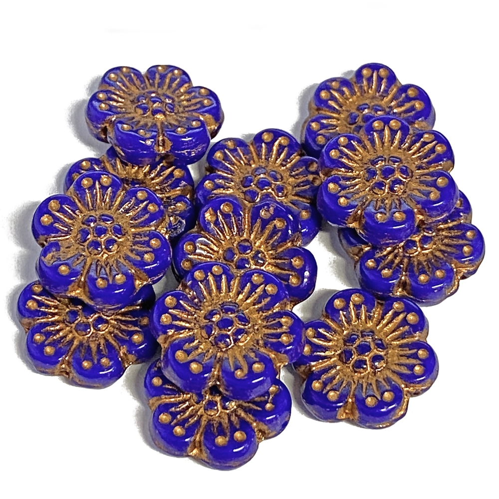 BD04244, Czech Flower Bead, Cobalt Blue, 14mm Czech, Czech glass, 14mm, open rose, copper accents,Czech flowers, hibiscus flower, deep purple blue, designer glass beads, vintage style beads,vintage look, B'sue Boutiques, vertically drilled