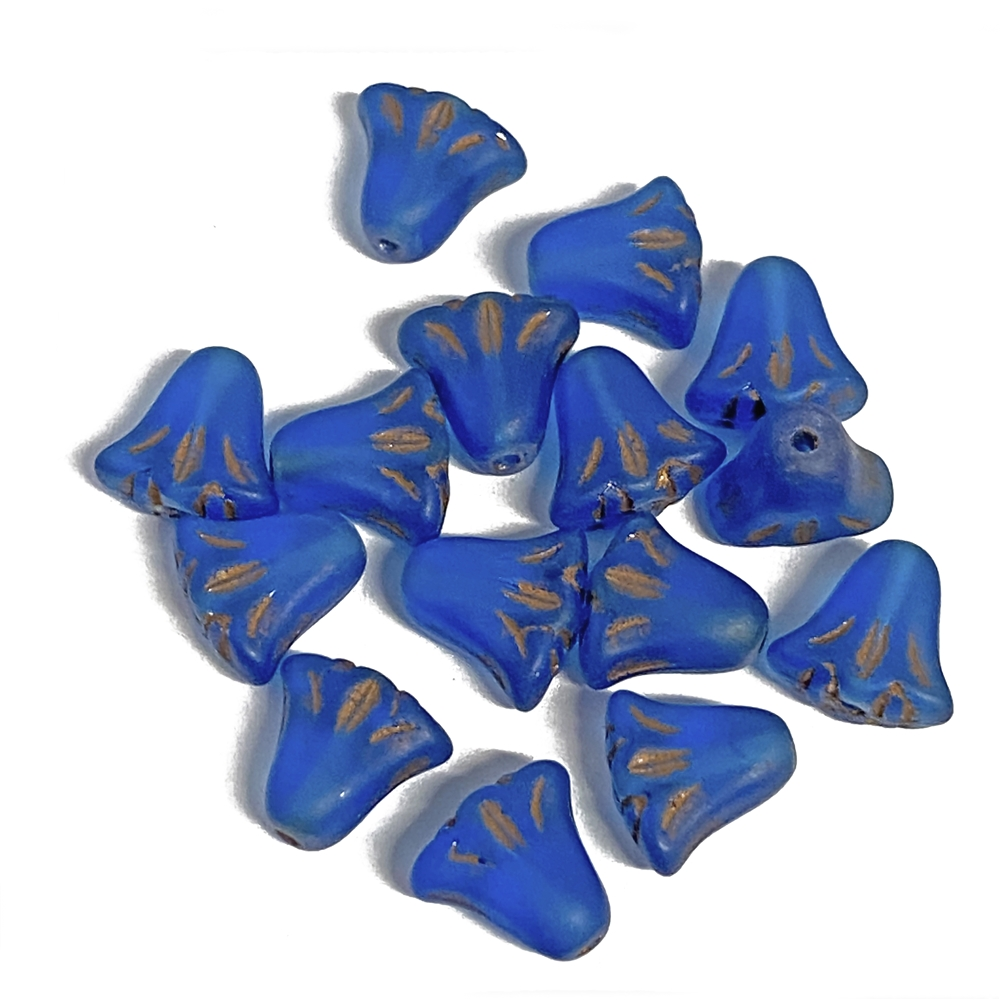 BD04247, Czech Flower Bead, 9x10mm, Lily Flower, Azure Blue,  Czech glass, lily flower, copper accents,Czech flowers, make earrings, wild sapphire blue, designer glass beads, vintage style beads,vintage look, B'sue Boutiques, vertically drilled,