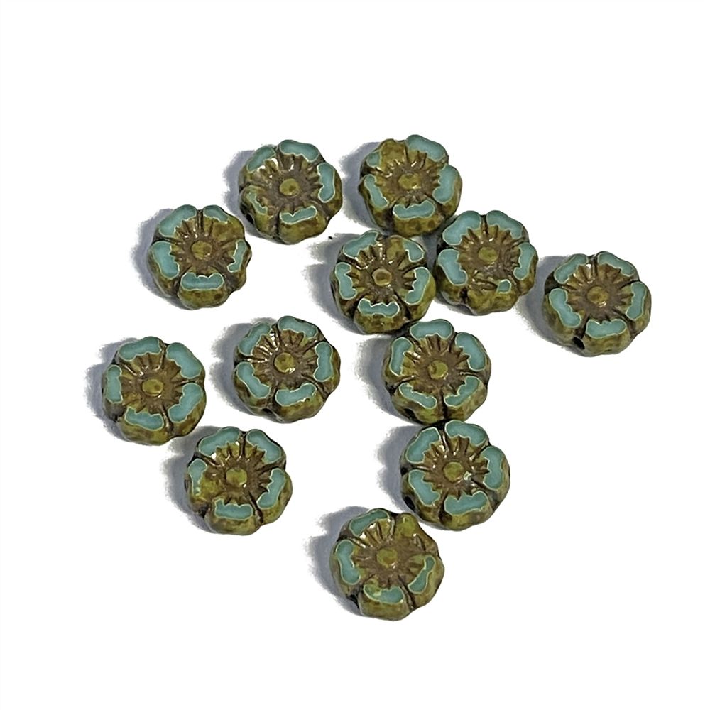 BD04251, Hibiscus flower beads, 7mm size, delicate detail, Czech glass, deep turquoise blue, earthy, Czech flowers, make earrings, designer glass beads, vintage style beads,vintage look, B'sue Boutiques, vertically drilled, temp strung, brown accents