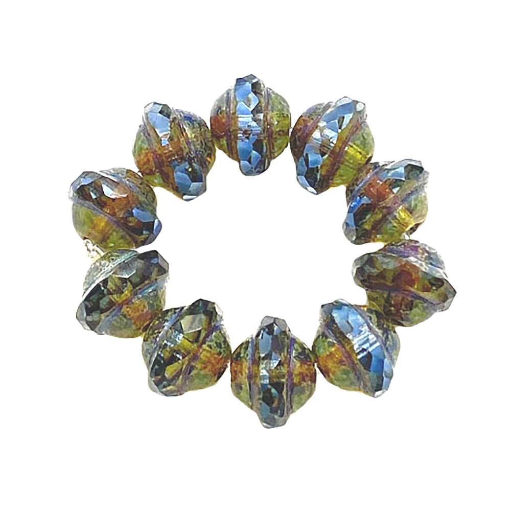 Saturn blue Picasso finish beads, Saturn beads, Czech glass beads, saucer beads, Czech glass, Czech, glass, Picasso, glass beads, US made, B'sue Boutiques, jewelry making, transparent blue, 8x10mm, 04263