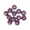 Hibiscus flower beads, 7mm size, delicate detail, Czech glass, purple opaline with bronze finish, Czech flowers, earrings, designer glass beads, vintage style beads, vintage look, B'sue Boutiques, vertically drilled, temp strung, 04265