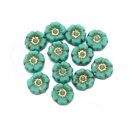 Hibiscus flower beads, 7mm size, delicate detail, Czech glass, turquoise with gold accents, Czech flowers, earrings, designer glass beads, vintage style beads, vintage look, B'sue Boutiques, vertically drilled, temp strung, 04267