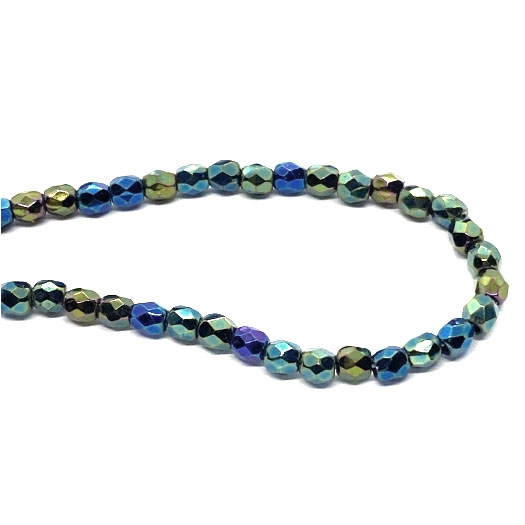 faceted glass beads, green and blue, 3mm, 04272, fire polished, Czech glass, iridescent, small beads, B'sue Boutiques, jewelry supplies, beading supplies