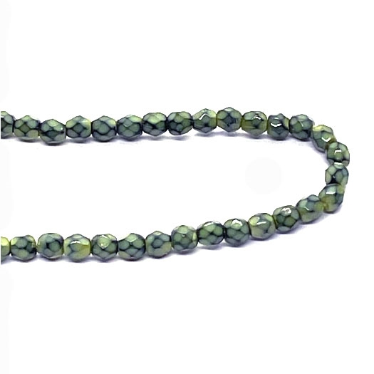 faceted glass beads, sage green, 3mm, 04274, fire polished, Czech glass, iridescent, small beads, B'sue Boutiques, jewelry supplies, beading supplies