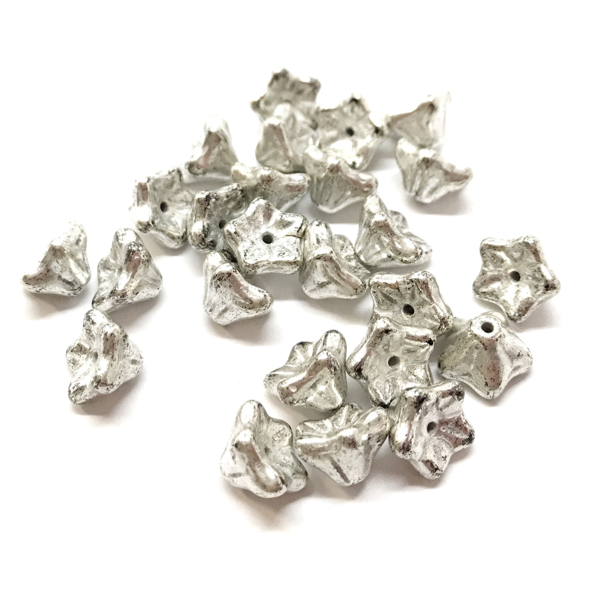 Czech glass beads, tulip beads, antique metallic silver, 04297, beading supplies, vintage jewellery supplies, B'sue Boutiques, bead stringing, glass beads, vintage glass beads, vintage beads