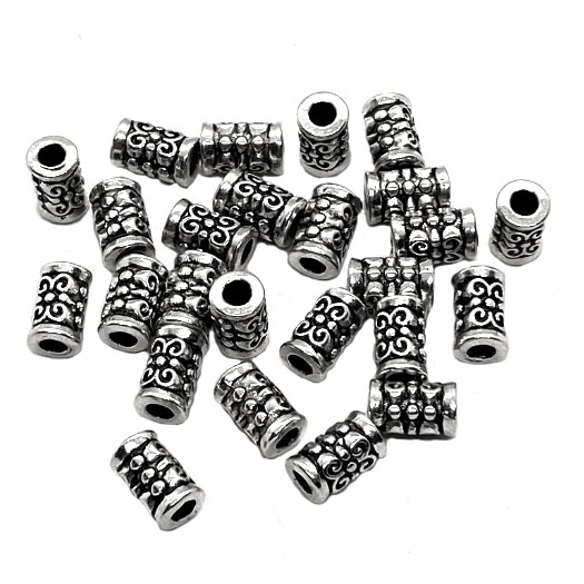Industrial Bead, Antique silver, spacers, 04402, b'sue boutiques, lead free, jewelry supplies, jewelry making, jewelry parts, steampunk, metal beads, bead, 7 x 4mm, Indonesian style