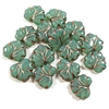sea green maple leaf beads, maple leaf, copper accents, transparent, beads, leaf beads, czech glass, czech, glass, drilled, milky green, leaf, maple, glass beads, maple leaf beads, us made, B'sue Boutiques, jewelry making, 10x13mm, leaves, 04431