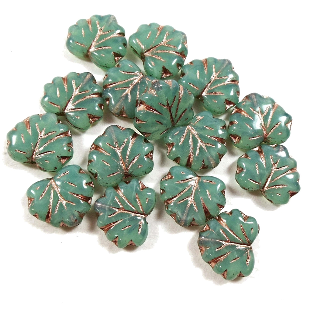 aqua green maple leaf beads, aqua green, maple leaf, copper accents, transparent, beads, leaf beads, czech glass, czech, glass, drilled, milky green aqua, leaf, maple, glass beads, maple leaf beads, us made, B'sue Boutiques, jewelry making, 10x13mm, 04431