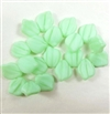 leaf beads, Czech glass, matte mint strip, 14x12mm